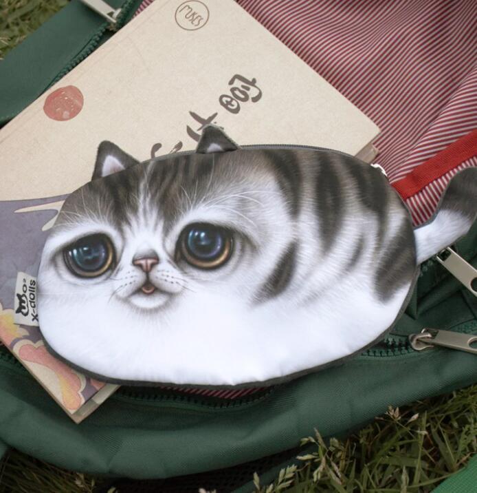 Yaratıcı 3D Boyama Kedi Sikke çanta Harajuku Tarzı Organizatör Cüzdan El Çantaları kedi yüz çanta anahtar sikke sahipleri kozmetik çantaları