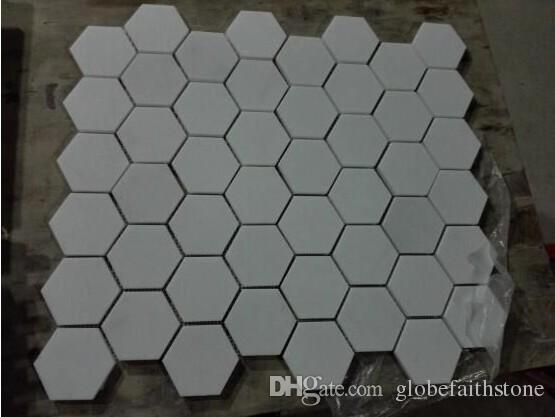 Acquista nuovo bianco puro esagono mosaico di marmo naturale