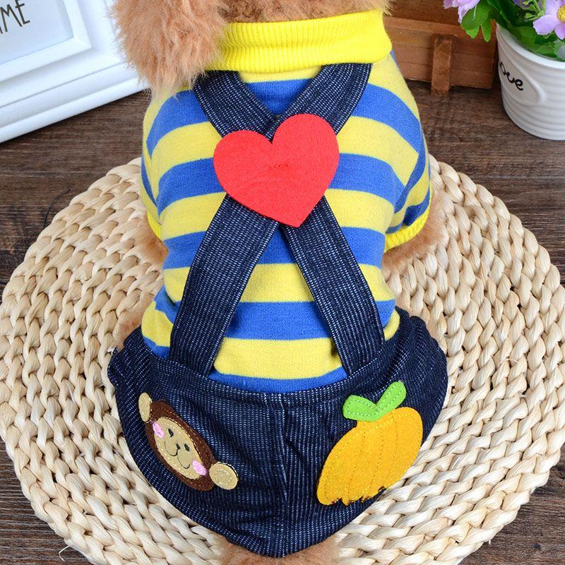 New Brand Spring Summer Pet Dog Stripe Jumpsuit Four Legs Cloth for Small Medium Dog