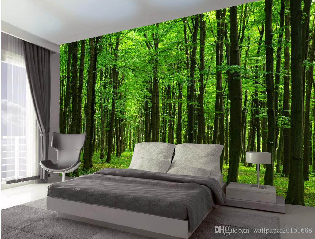 Fresh And Beautiful Forest Forest Landscape Mural