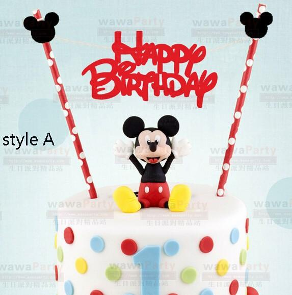 2017 Wholesale Mickey Mouse Design Happy Birthday Cake Topper Set