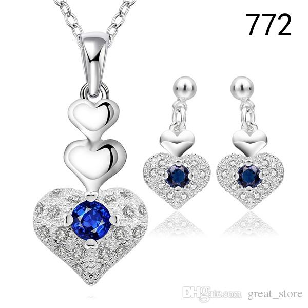 Brand new women's gemstone sterling silver jewelry sets same price mix style,925 silver Necklace Earring jewelry set GTS30