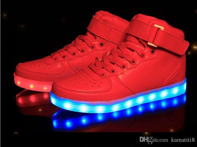 bfa594bf93d5 Led Shoes Man USB Light Up Unisex Sneakers Lovers For Adults Boys Casual  Students Sports Glowing With Fashion High Top Lights Board Shoes Summer  Shoes Best ...