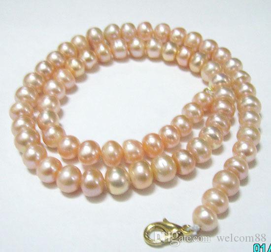 10 sztuk / partia Różowy Okrągły Słodkowodne Pearl Moda Naszyjnik Homar Zapięcie 16 cali dla DIY Craft Biżuteria Prezent P9