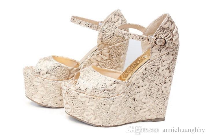 Estate scarpe da donna tacchi alti 15 cm con zeppa piattaforma pizzo scarpe da sposa sandali peep toe sandali da sposa 30--43