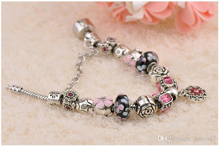 Retro New Crystal Hand Bead String DIY Jewelry CZ diamond Large Hole beads European and American Charm Bracelet for Women manufacturers