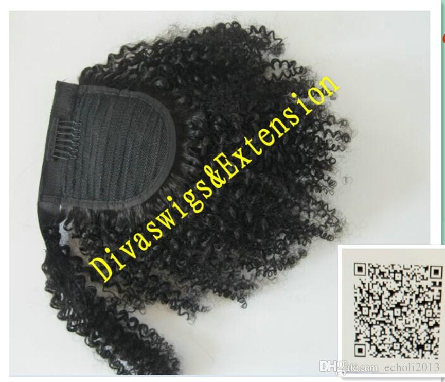 Easy wearing Human Ponytail Kinky puff Hairpieces clip Brazilian hair kinky curly Ponytails human Hair extensions jet black 120