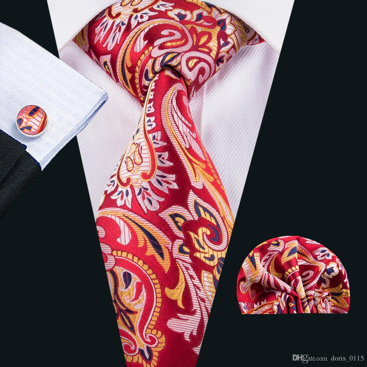 455c2ce24f 2019 Paisley Red Tie Dropship Mens Tie Handkerchief Cufflinks Set Red And  Gold Necktie For Men Wedding Part BusinessN 1587 From Doris_0115, $4.86 |  DHgate.