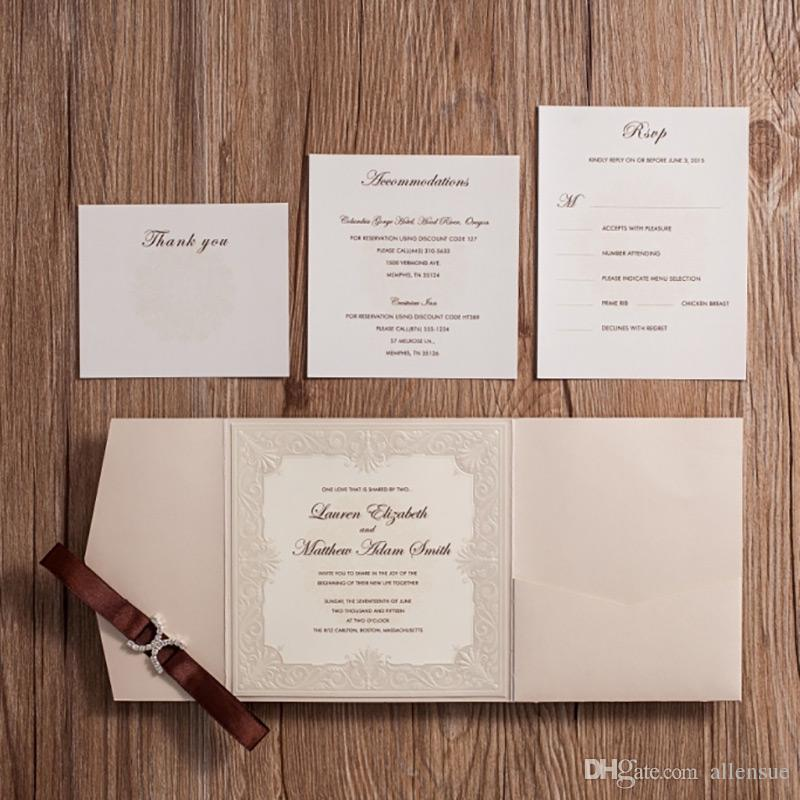 wishmade royal wedding invitation card kit with thank you rsvp accommodation cards rhinestones buckles party invites aw5501 pocket wedding invitation kits