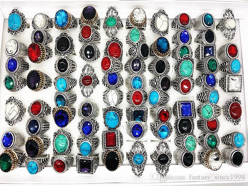 Venta al por mayor a granel surtido mezcla de estilos de los hombres de las mujeres de plata antigua retro vintage joyas de piedra anillos a estrenar