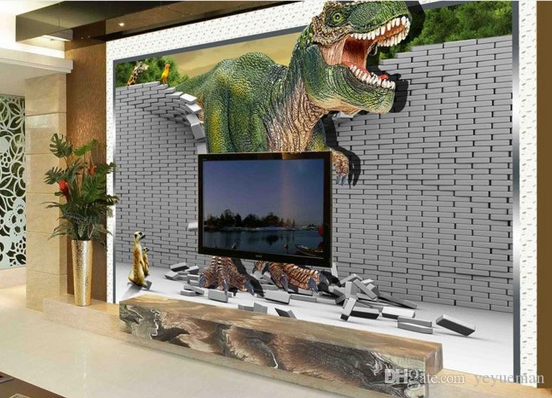 Пользовательские обои для стен 3 d Фото росписи динозавр 3D стереоскопический спальня обои гостиная