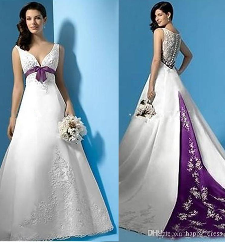 Discount Plus Size White And Purple Wedding Dresses Empire Waist V ...