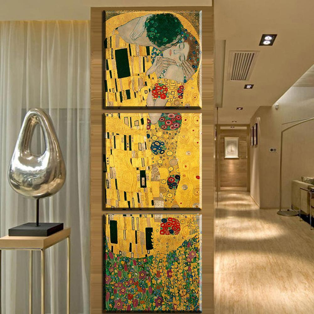 ZZ1620 3 Panel Modern Abstract Gustav Klimt Kiss Painting Picture ...