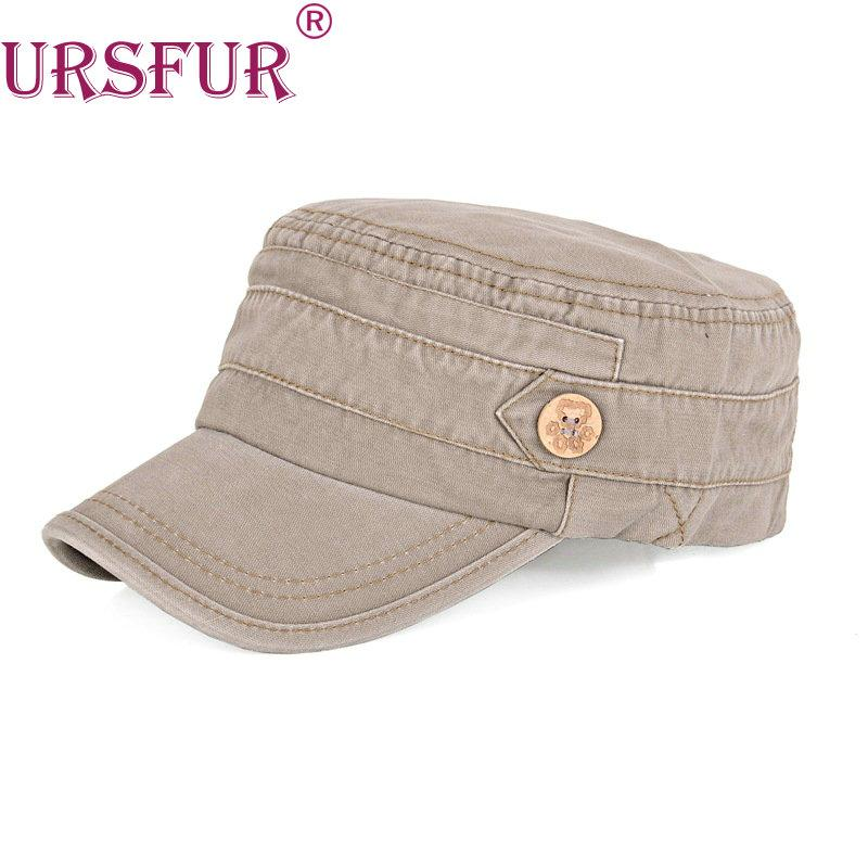 e5684c21db1 Wholesale URSFUR Baseball Cap Flat Top Hat Men Women Unisex Cadet Cap  Gorras 1 Button Gift Dad Windproof Snapback Adjustable 100% Cotton Hat  Stores Custom ...