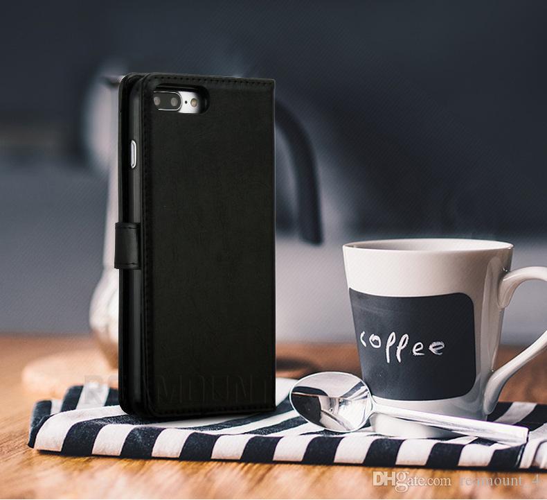 Großhandel abnehmbare magnetische 2 in 1 Phone Case für iPhone 6 6 Plus Crazy Horse Muster-Mappen PU-Leder-Abdeckung mit Kartenhaltern
