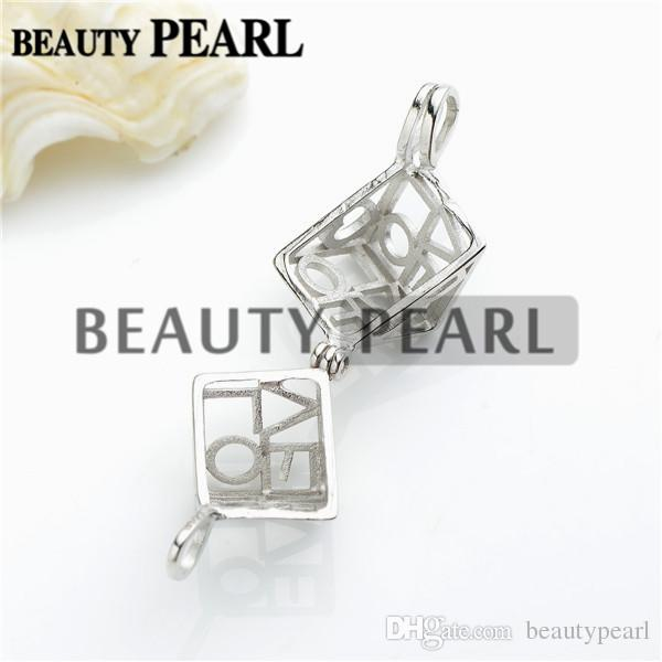 Love Heart Box Locket Cage Pendant Pearl Mountings Wish Pearl 925 Sterling Silver Gift Pendant