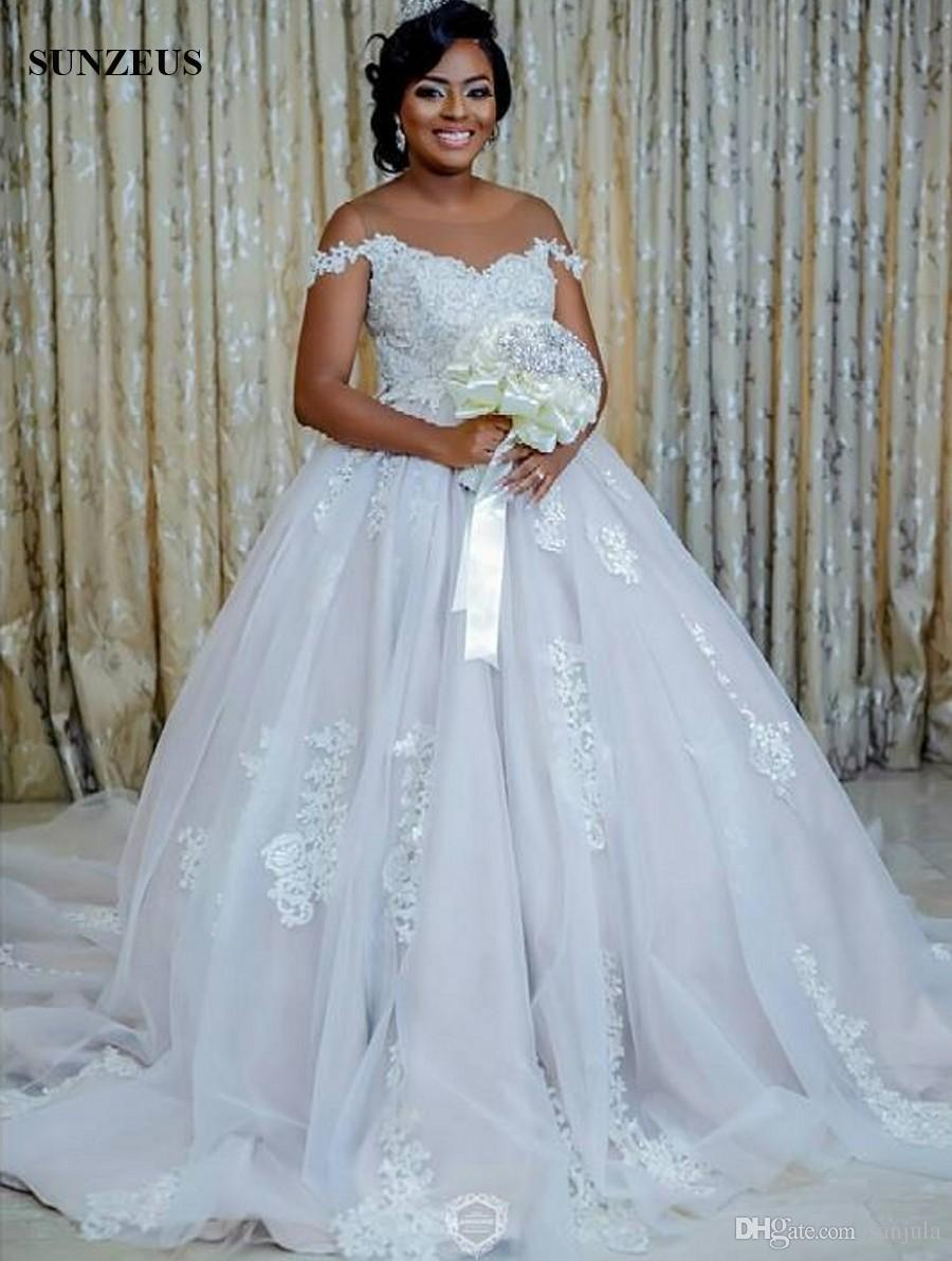 Ball Gown Illusion Neck Off Shoulder Wedding Dresses Straps ...