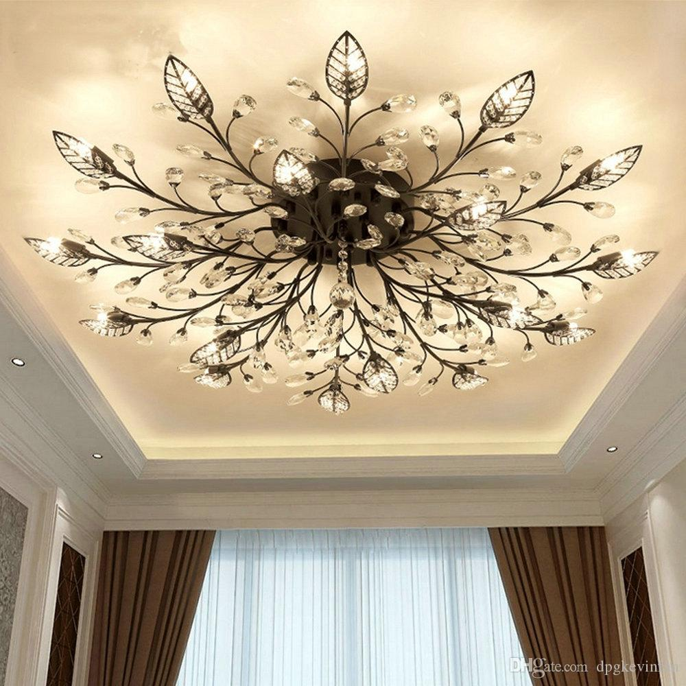 Modern Nordic K Crystal Led Ceiling Lights Fixture Gold Black Home - Kitchen and bathroom lights