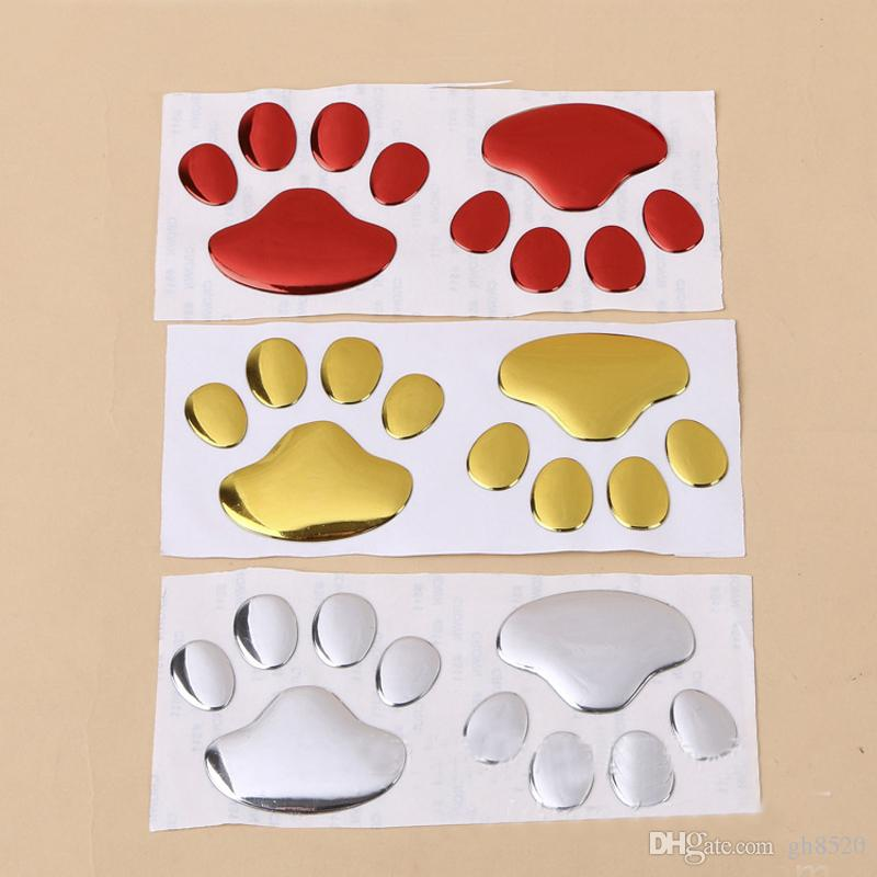 Bear Footprint PVC Car Sticker Decal Gold silvery Red Color Bear Car Stickers Car Logo Sticker Wholesale for VW for Toyota Buick Honda