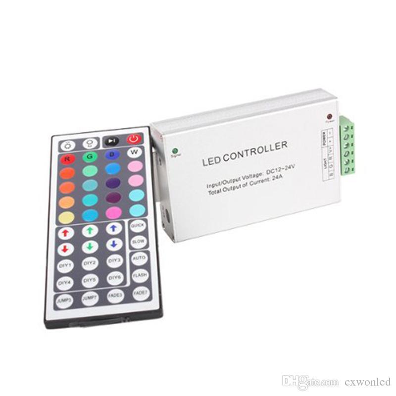 IR 리모컨 DC12V-24V 12A 144W 44 키 RGB SMD 5050 3528 LED 스트립 알루미늄 긴 작업