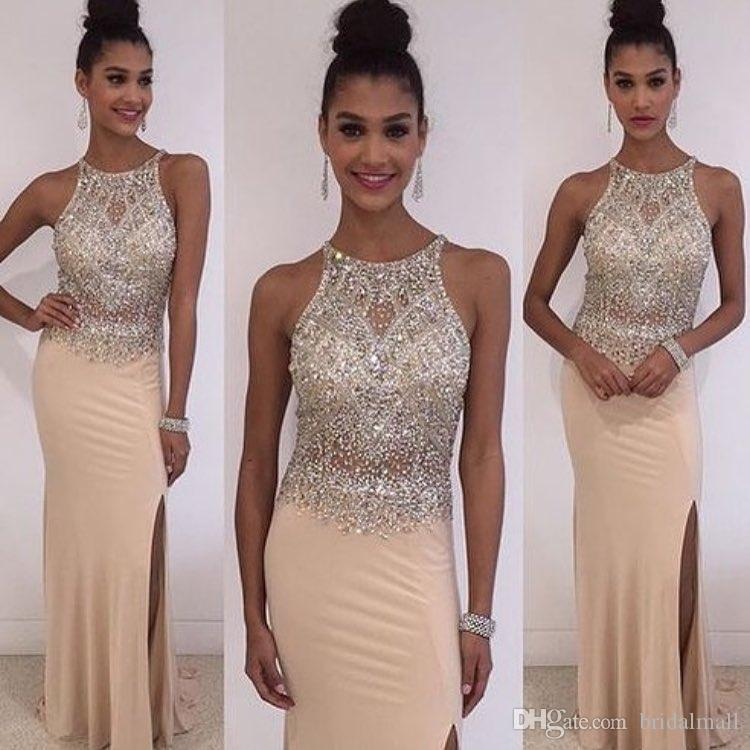 Beaded Crystals Champagne Chiffon Long Prom Dresses 2019 Sexy Side Split Formal Evening Dress Elegant Pageant Party Gowns Vestidos de fiesta