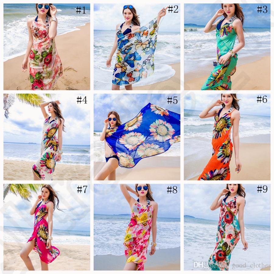 2e5d09de65 2019 Women Floral Bikini Cover Ups Print Sexy Pareo Beach Dress Bohemian  Sarong Chiffon Beach Bikini Wrap Swimwear Scarf Shawl Brace OOA1281 From ...