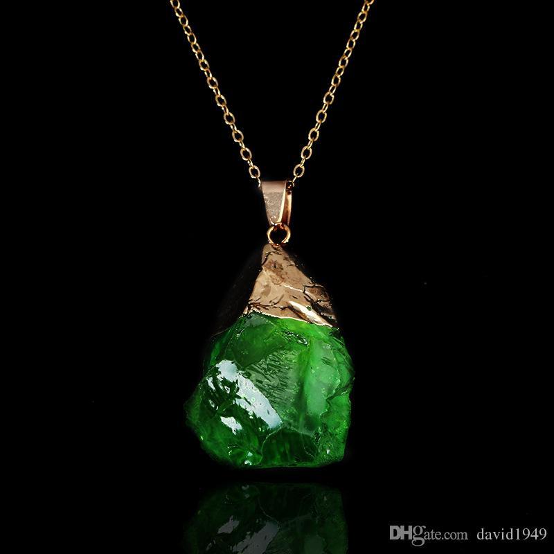 Multicolor Natural Stone Pendants Women Irregular Druzy Stone Necklces Pendants Quartz Crystal Gem Necklaces
