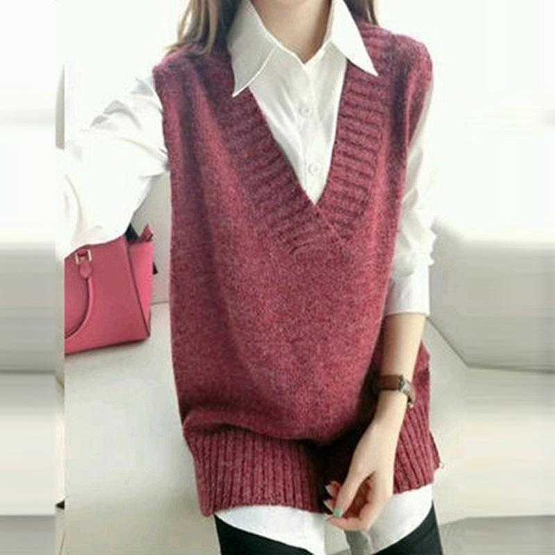 2018 Wholesale Spring Autumn Style Women'S V Neck Sweater Vest ...