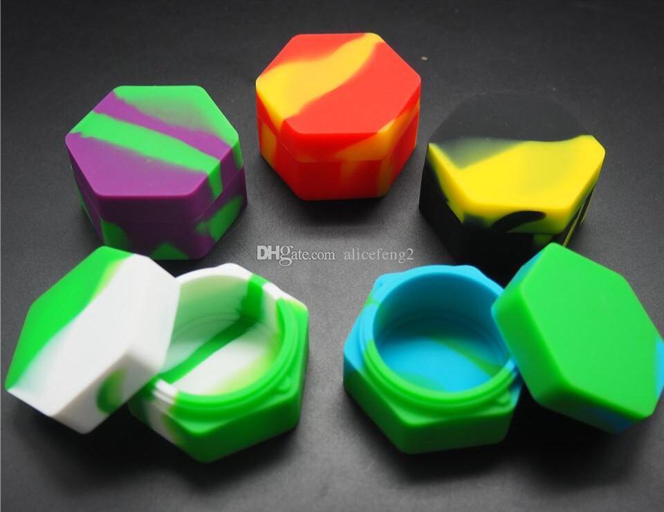 가장 저렴한 육각형 비 스틱 실리콘 항아리 Dab 왁스 기화기 오일 컨테이너 26 ml
