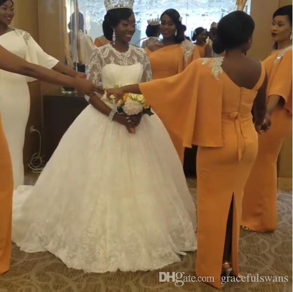 Mermaid Satin Bridesmaid Dresses One Shoulder Beaded Elegant Long Wedding Party Dress for Girls Back Slit robe demoiselle d'honneur