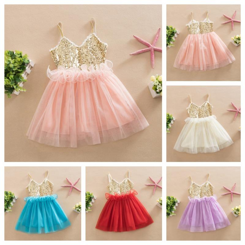 049ed30fd49 2019 Wholesale Sweet Kids Girls Tutu Sequins Dress Sundress Multi Candy  Color Princess Party Dress Halter V Neck Dress From Heathera