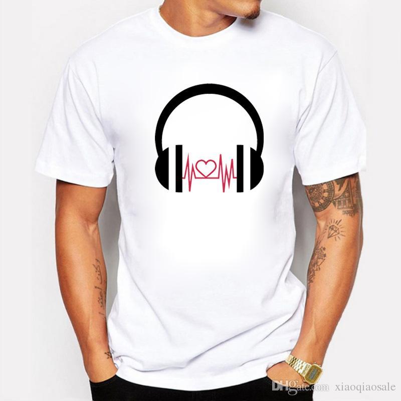 Summer DJ Cartoon Love Wave Impreso Camisetas Hombre Casual Fit O-cuello Algodón Hombres Camisetas Pap Hip Hop Camisetas de manga corta