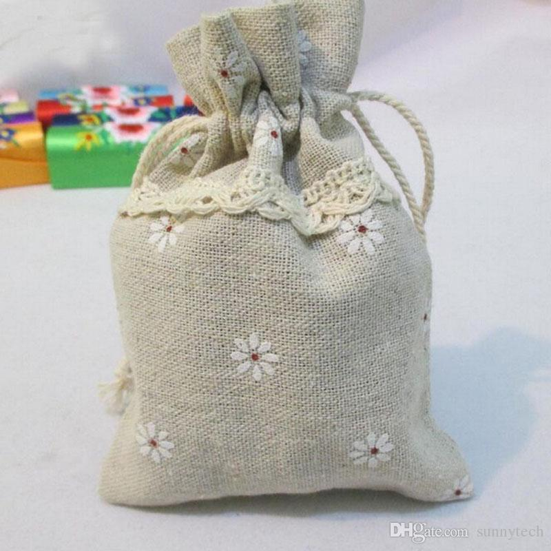Mini Natural Lace Decoration Linen Drawstring Flower Print Wedding Favor Bag Pouch Party Gift Bags Jewelry Case ZA1398