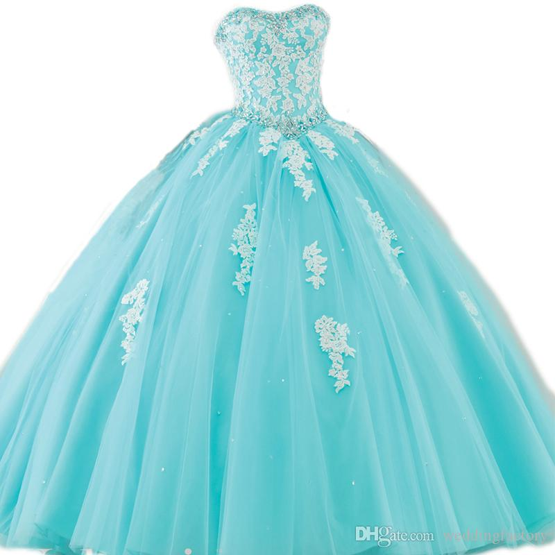 Amazing Aqua Blue Turquoise Quinceanera Dresses Puffy Ball Gown ...