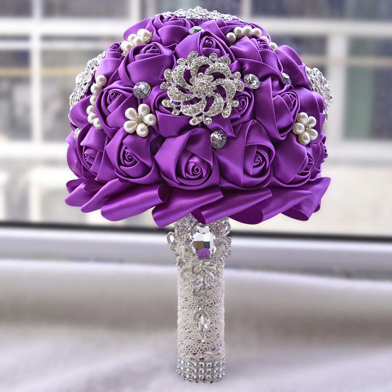 Artificial Wedding Bouquets Hand made Flower wedding decoration Rhinestone Bridesmaid Pearl Crystal Bridal Wedding Bouquet mariage D453