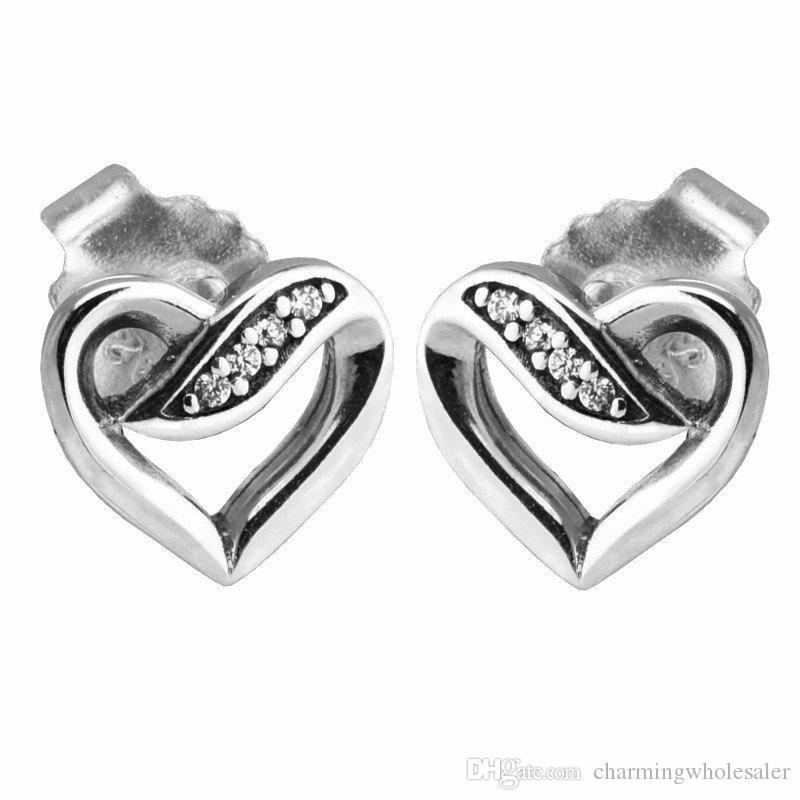 140537fea5de3 Heart shaped Earrings stud S925 Sterling silver fits pandora style  jewellery charms free shipping best quality Ribbon of Love
