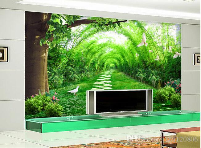 3d room wallpaper landscape custom photo mural Fresh bamboo forest road painting 3d wall murals wallpaper for walls 3 d living room