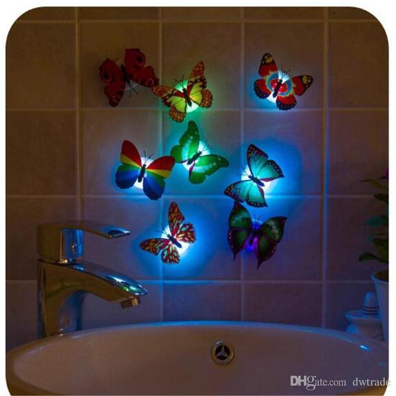 사랑스러운 크리 에이 티브 색상 변경 ABS의 나비 야간 조명 램프 아름다운 홈 장식 벽의 나이트 라이트 랜덤