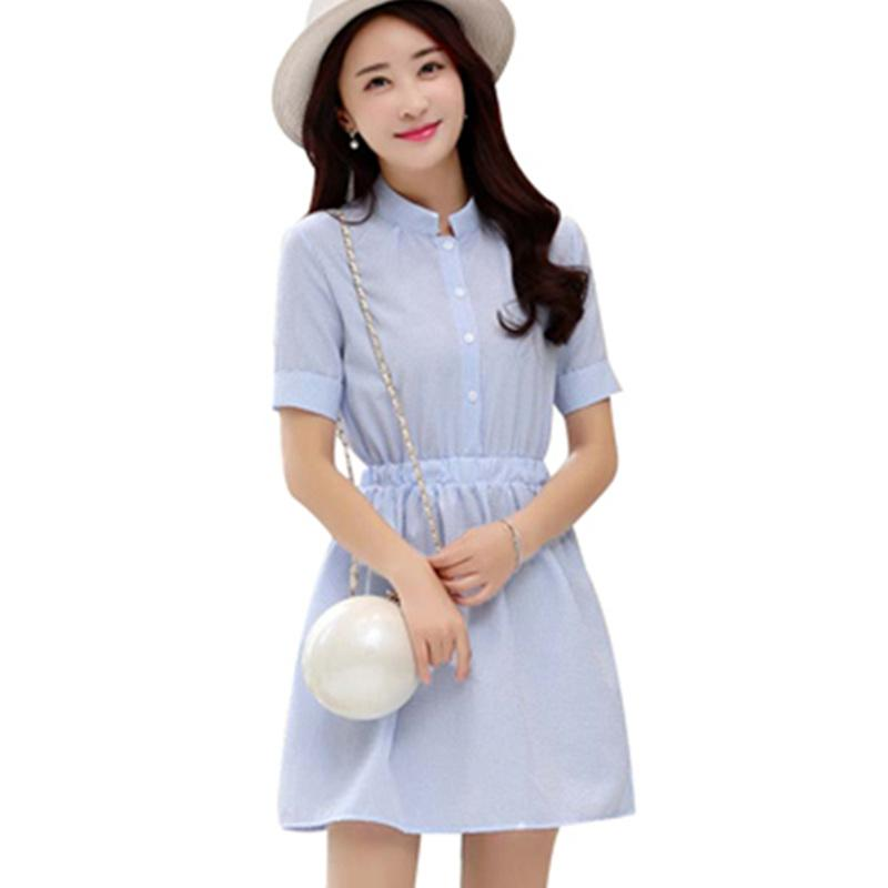 Shirt Dress Women Summer 2017 Fashion Korean Female Short Sleeve White And Blue Striped Linen Casual Dresses For Ladies Cocktail Juniors Grey