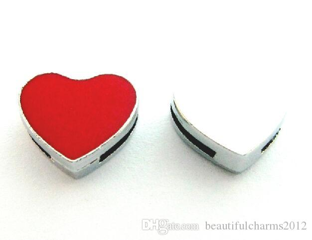 (20 , 50)PCS/lot 8MM Red Heart DIY Slide Charms Alloy Accessories Fit For 8mm Leather Wristband Keychains Fashion Jewelrys