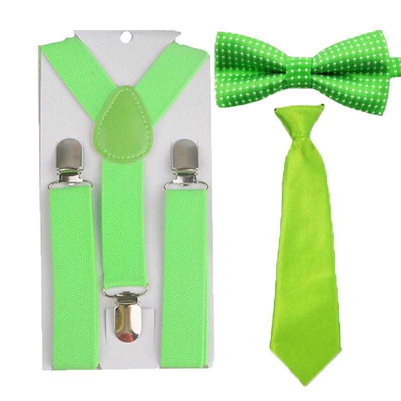 0f5f89a2f356 Wholesale- Children Kids Boys Girls Green Color Suspenders Necktie ...
