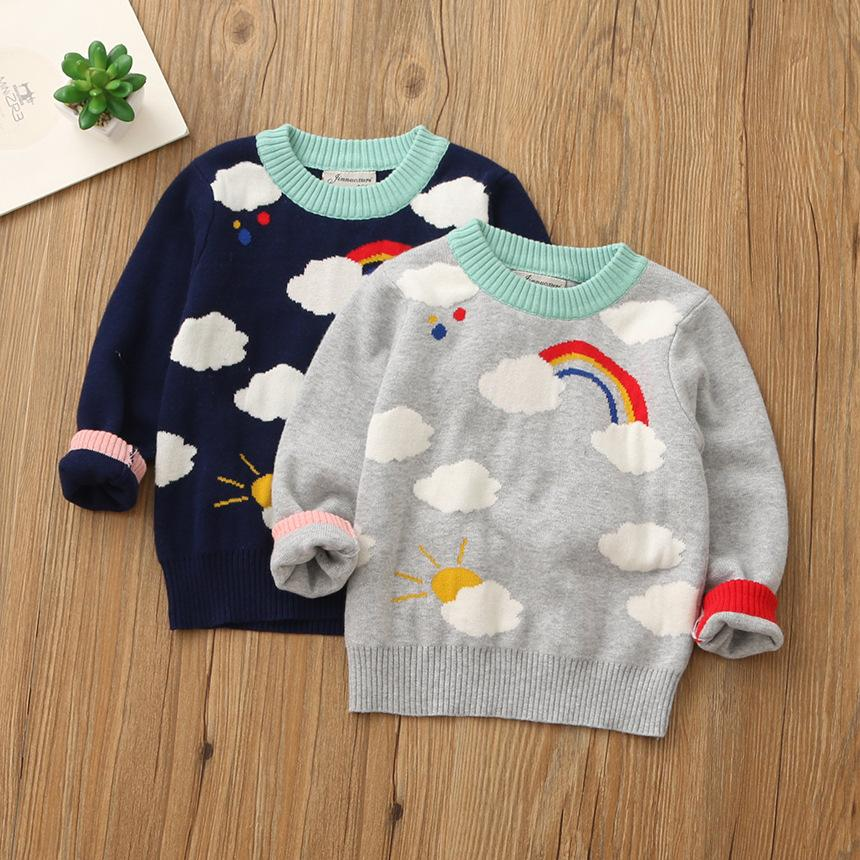 Everweekend Girls Knitted Rainbow Cloud Sweater Tops Candy Color