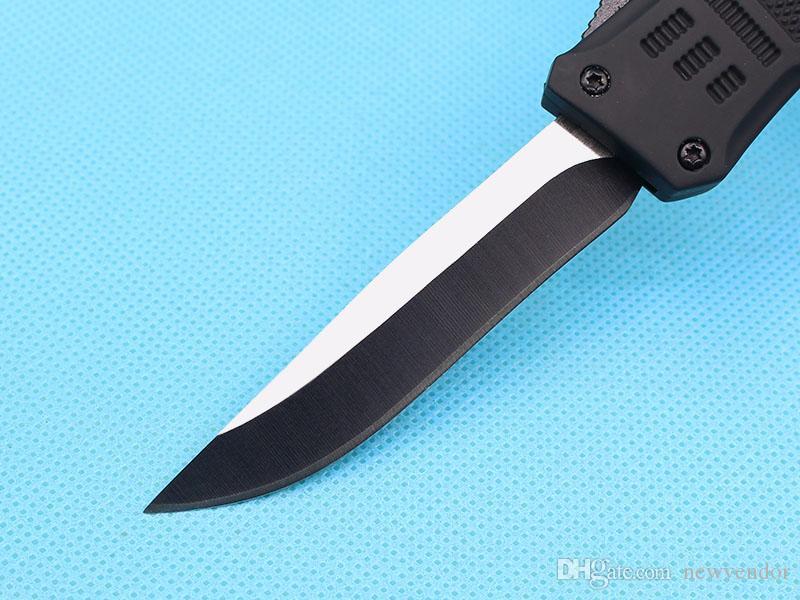 Custom Knives - 7 Inch Small 616 Auto Tactical Knife 440C Single Drop Point Fine Edge Titanium Blade EDC Pocket Knives