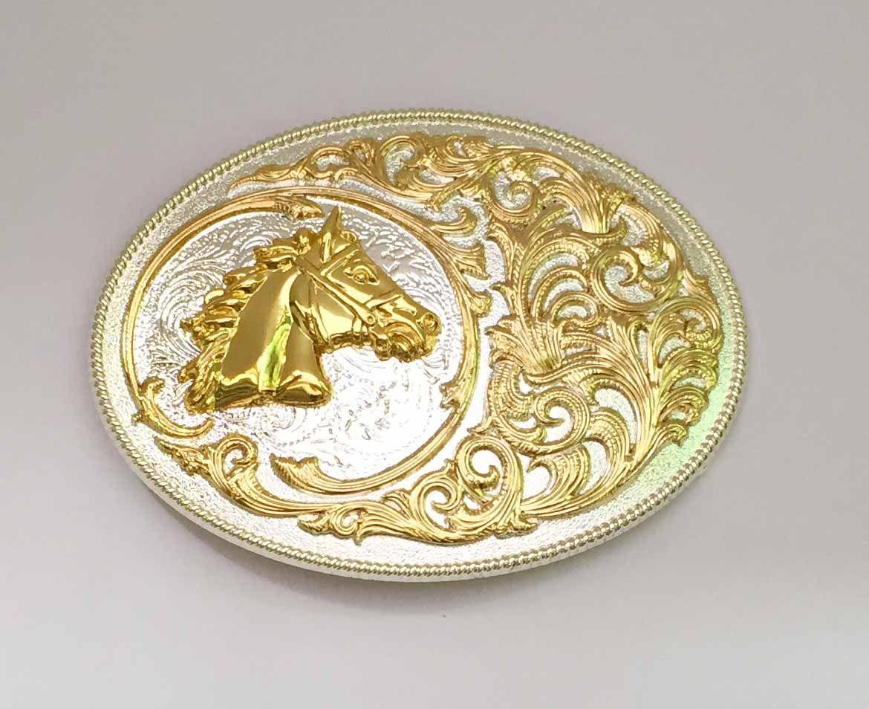 Oval Lace Gold Horse Western Gürtelschnalle SW-BY644 geeignet für 4cm breite Snap-on Gürtel mit durchgehendem Schaft