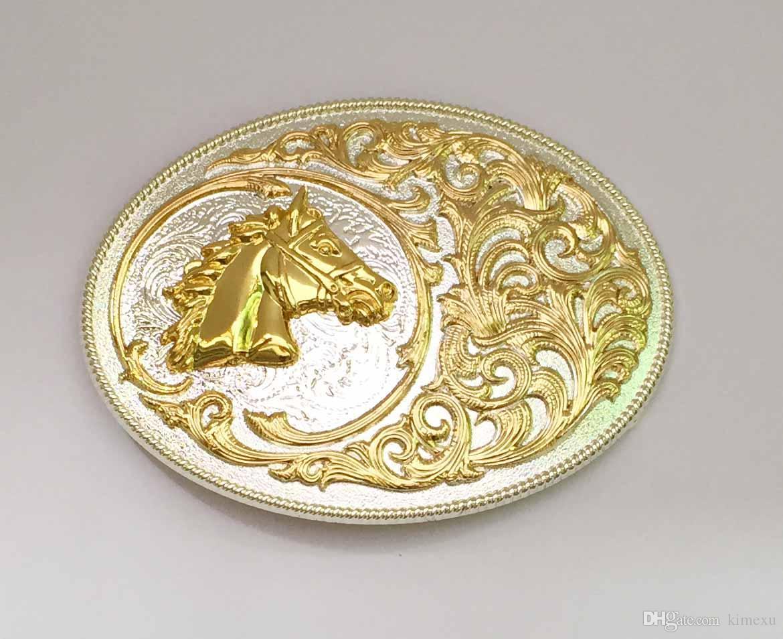 Овальные кружева золотой конь Западной пряжки ремня SW-BY644 подходит для 4 см wideth оснастки на поясе с непрерывным запасом