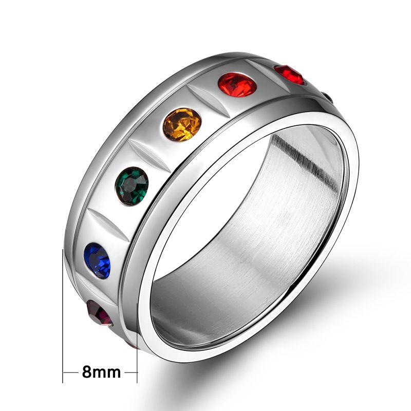 Meaeguet Rainbow Kristall Ringe Schmuck Kristall Hochzeit Schmuck Für Frauen Und Männer Edelstahl Ringe für weibliche Männliche PR-004