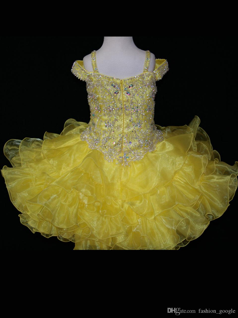 Little Pageant Cupcake Abiti ragazze 2017 Princess Toddler Pageant Dress with Ruffles Organza Skirt Bling Bling Beading Giallo
