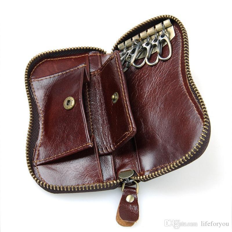 Lüks deri çantalar cüzdan moda deri sikke çanta fermuar ile unisex araba anahtarı çantalar, İç Anahtarlık Tutucu