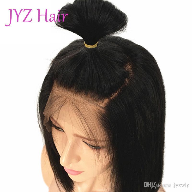 Frente de encaje sin cola barata Bob Pelucas Virgen pelucas del pelo humano para las mujeres Negro recta peruana indio brasileño del cordón del pelo humano pelucas