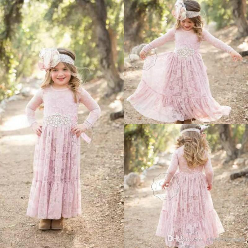 Großhandel Schöne Spitze Rosafarbene Kristallblumen Mädchen Kleid ...